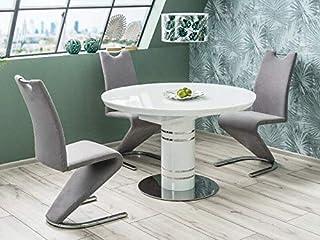 Stratos Table de salle à manger ronde extensible en verre trempé Blanc Ø 120-160 cm