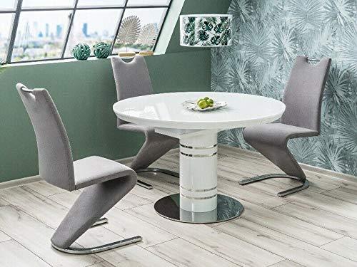 Mesa de comedor redonda blanca extensible de 120 cm de diámetro (-160 cm) de cristal templado mesa extensible Stratos