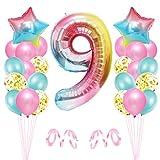 9er Cumpleaños Globos, Decoración de Cumpleaños 9 en Rosado, Cumpleaños 9 Año, Feliz Cumpleaños Decoración Globos 9 Años, Globos de Confeti y Aluminio para Niñas
