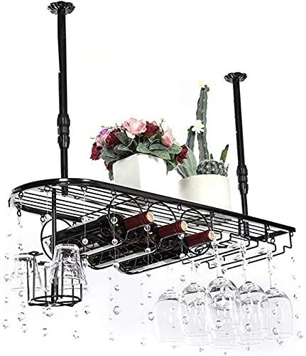 QDY cremalheira de vinho montada na Parede Cremalheiras de vinho de Metal suspensas, prateleira de vidro e suporte de cremalheira de vidro europeu para Tablet, cozinha, Bar, Restaurante Pequeno