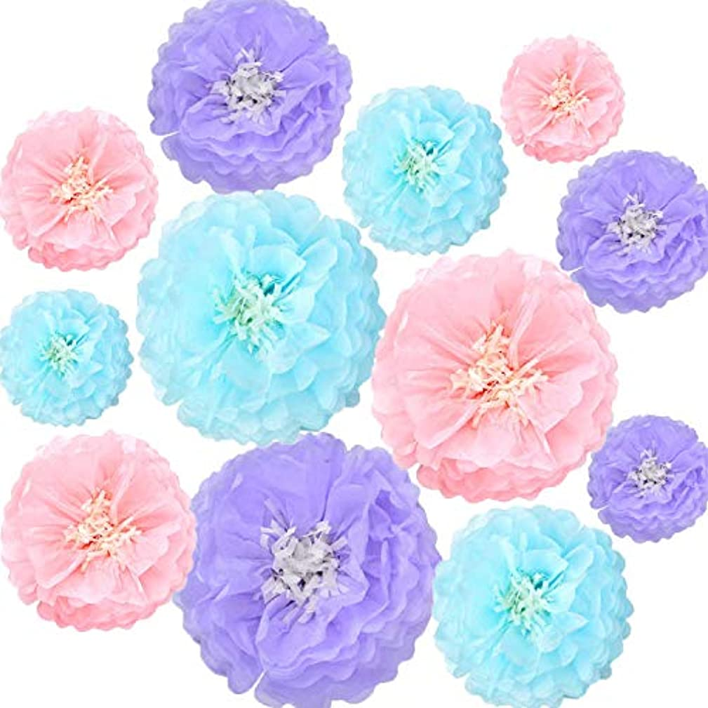 Tissue Paper Flowers Decorations for Baby Shower Birthday Party Wall Background Decoration, 12pcs Assorted Sizes,Light Blue