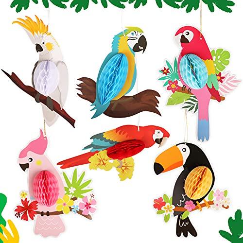 Gxhong Decoración para Colgar Loros Tropicales, 6 Piezas Tropical Fiesta Hawaiana Decoracion para fiestas de verano, decoración de cumpleaños, decoración de jardín