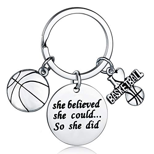 Basketball Charm Keychain, Inspirational She Believed She Could So She Did Jewelry, Gifts for Women Basketball Players (Basketball Keychain)