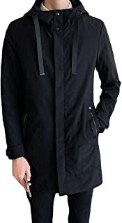 XINHEO Mens Hood Md-Long Solid Relaxed-Fit Casual Trench Coat Cardigan