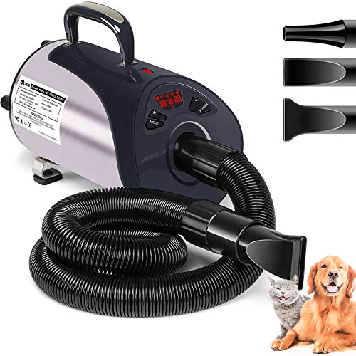 Dog Dryer, Professional Dog Hair Dryer with Led Screen 8 Adjustable Speeds & Temp Dog Blow Dryer High Velocity Low-Noise Pet Hair Force Dryer for Cat Small Large Dog Pet Grooming Dryer Blower 3.2HP