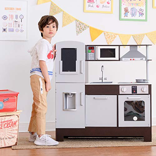 Teamson Kids Cocina Juguete De Madera & Tablero De Escritura Con Baterías Gris TD-13411A