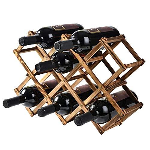 Pgs Botellero, sólido bastidor Europeo de vino de madera, creativo casero vino estante de exhibición, de 3 niveles apilable Estante del vino, de madera plegable Titular encimera del gabinete del vino,