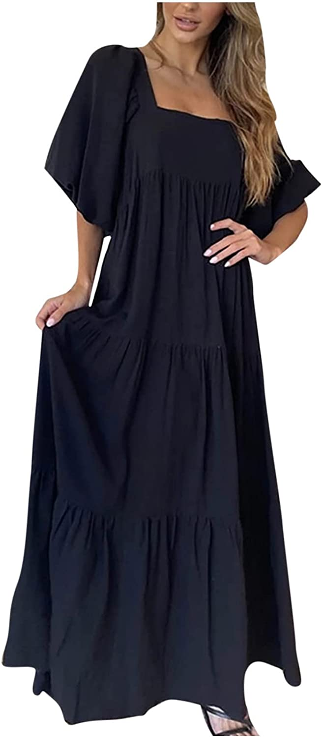 Women's Dresses Sexy Solid Ball Gown Loose Maxi Dress Vintage Ankle-Length Dresses Casual Apron Dress