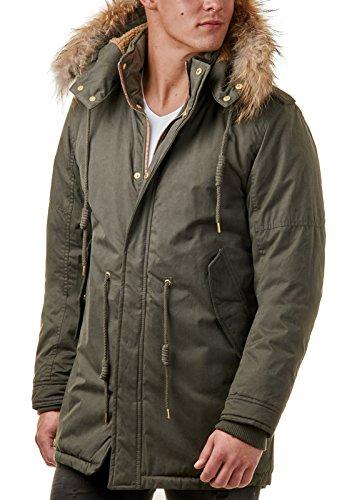 Burocs Herren Winter-Jacke Mantel Parka Echt-Fell-Kapuze Khaki Navy BR33183, Größe:XXL, Farbe:Khaki