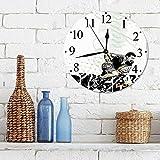"""12""""Horloge Muette Pendule Murale de Mode Cadre Sports, joueur rugueux de rugby avec un ballon courant de puissance défi de force muscula,horloges pour la Maison Salon Cuisine Chambre Bureau école"""