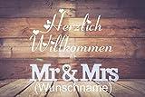 Crealuxe Fussmatte MR & MRS - (mit Wunschname)-Herzlich Willkommen - - Fussmatte, Bedruckt - Türmatte Innenmatte Schmutzmatte lustige Motivfussmatte