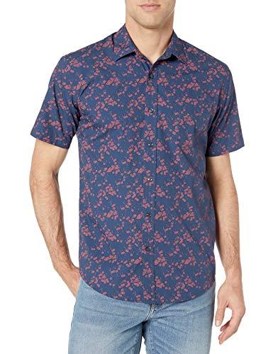 Amazon Essentials Men's Short-Sleeve Regular-Fit Casual Poplin Shirt Shirt, -Floral, Large