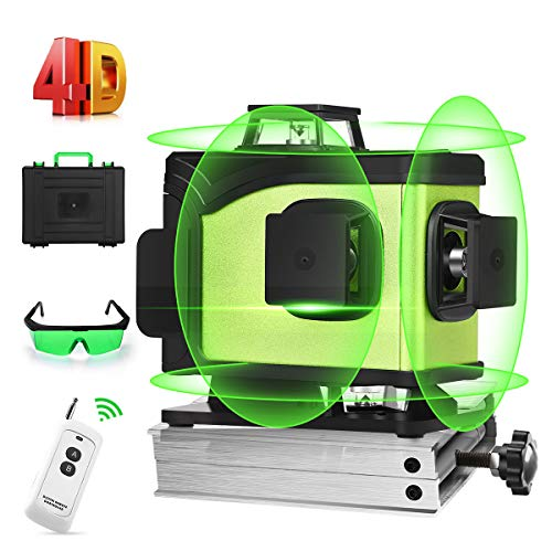 Seesii 4D Green Beam SelfLeveling Laser Level 4x360 Cross Line Laser FourPlane Leveling Measure Tool Three 360° Vertical and One 360° Horizontal LineRemote Control amp Magnetic Lifting Base