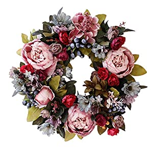 14″ Door Wreaths, Artificial Peony Hydrangea Flower Front Door Wreaths for Spring and Summer All Seasons Floral Wreath Round Twigs Vine Hanging for Farmhouse Office Home Wedding Decor