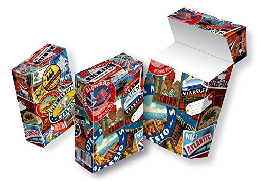 Zigarettenschachtelüberzieher aus Karton SLIPP OVERALL Design: Alte Kofferaufkleber   Zigarettenschachtel Hülle kompletter Überzieher mit Deckel (079 Kofferaufkleber, 3 Stück)