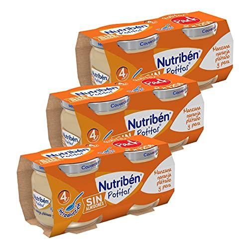 Nutribén Potitos pack Merienda, Introducción a la Manzana, Naranja, Plátano y Pera, Sin almidones , Desde los 4 meses, 3 bipacks (6 x 120gr)