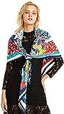 CHEDENG Envoltura de Chal de Bufanda de Cuello de Moda Bufanda de Las Mujeres Seda Grande Bufanda de Seda National Wind Pintura de impresión Bufanda 130cm * 130cm para mamá
