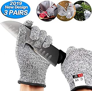 Dekugaa Cut Resistant Gloves - Upgrade Cut Resistant,Food Grade Level 5 Protectio,Cut Resistant Work Gloves, For Meat Cuttin Processing, Mandolin Slicing,Wood Carving,Pruning nd More,(Medium-3 pairs)