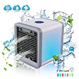 Mini Air Conditioner Portable, Personal Air Cooler, Air Cooler Quiet with 7 Colors Night Lightt, 3 Fan Speed, for Home Office Bedroom