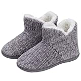 TUOBUQU Women Warm Bootie Slippers Fluffy Plush Indoor Outdoor Winter Booty Slippers Grey L
