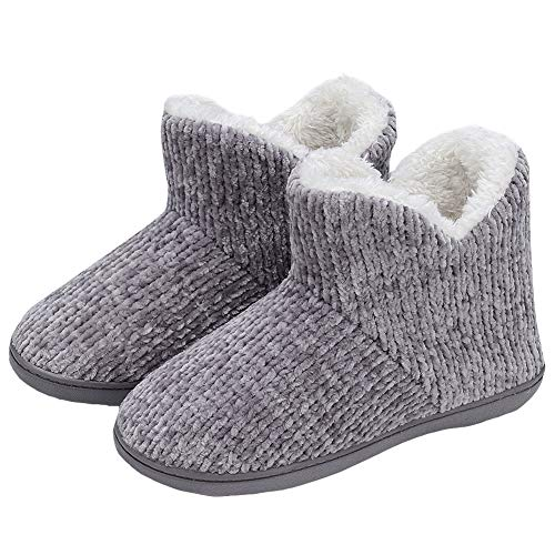 TUOBUQU Women Warm Bootie Slippers Fluffy Plush Indoor Outdoor Winter Booty Slippers Grey M