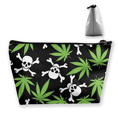 Marihuana Weed Skull Crossbones Negro Maquillaje Neceser Neceser Viaje Cosméticos Organizador Impermeable Multiusos Trapezoidal Bolsa de Maquillaje Bolsas de Maquillaje Cosméticos Bolsas Crema