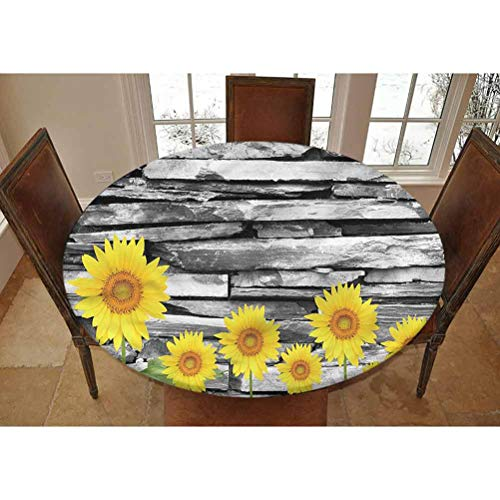 Brick Wall Elastic Edged Polyester Fitted Tablecolth -Sunflowers with Leaves- Small Round Fitted Table Cover - Fits Tables up to 40-44' Diameter,The Ultimate Protection for Your Table