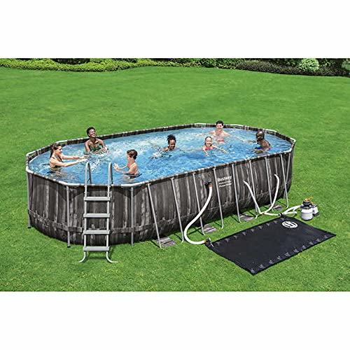 Bestway Power Steel 22' x 12' x 48'' Above Ground Oval Pool Set w/Ladder, Cover, Filter Pump, Replacement Cartridge, Repair Patch