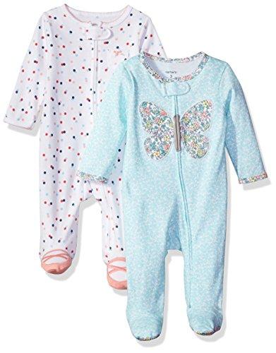 Carter's Baby Girls' 2-Pack Cotton Sleep Play, Blue dot/Pink Floral, Newborn