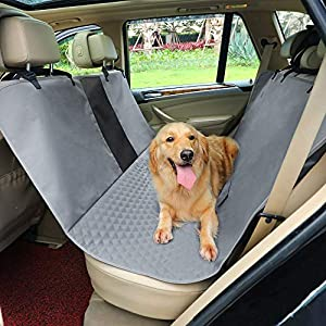 Petsfit Dog Car Seat Cover Waterproof Scratchproof Nonslip Hammock for Pets Backseat Protection Against Dirt and Pet Fur Dark Gray