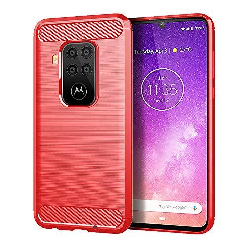NOKOER Funda para Motorola Moto One Zoom, TPU Delgada Disipacion de Calor Telefono Movil Cover, Material Suave Sensación Cómoda Huella Digital Anti Case para Motorola Moto One Zoom Smartphone - Rojo