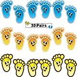 30 Pairs Kids Floor Stickers Self-Adhesive Floor Decals Social Distance Footprint Stickers for Kids Nursery Bedroom Living Room, 3 Colors