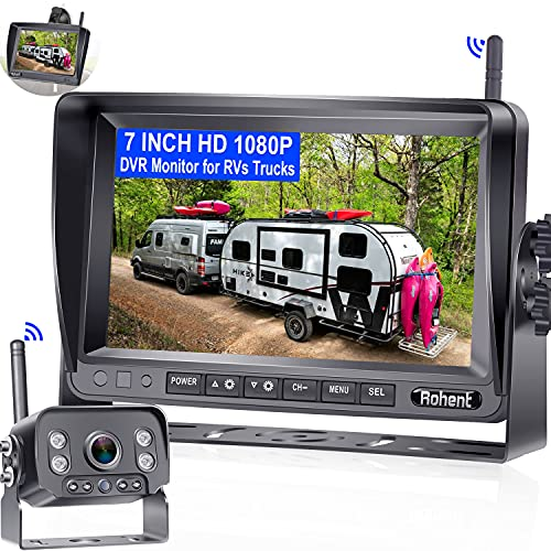 Rohent R9 Wireless Backup Camera with 7 Inch DVR Monitor HD 1080P High-Speed Rear View Observation System for RVs Trucks Trailers 5th Wheels IR Night Vision IP69 Waterproof 170° Wide View Angle