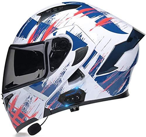 ZYQZYQ Casco modular de la motocicleta con el sistema de comunicación integrado de intercomunicación integrado de MP3 Bluetooth y auriculares de doble altavoz, DOT & ECEAPTRÓDICOS Cascos con voltaje c