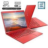 PC-Ordinateur Portable Windows 10 14.1 Pouces FHD Laptop DUODUOGO X20 Apollo Lake J3455 1920*1080p Notebook 6Go RAM 128Go Stockage/Extension de Carte TF 128 Go ou SATA SSD (14.1'',RAM 6Go, Rouge)