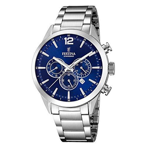 Festina F20343/7 Armbanduhr, Stahl, blauer Hintergrund