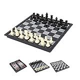 Keyohome Ajedrez magnético 3 en 1 Juego de ajedrez plegable y portátil con imanes de ajedrez Backgammon para niños y adultos para viajes