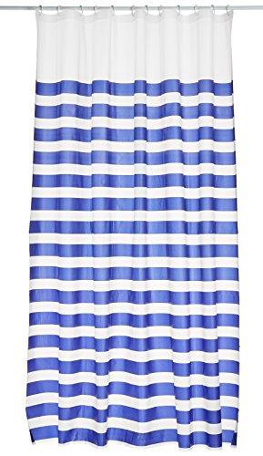 Bisk Duschvorhang Marine mit Ringen, 180x 200cm, dunkelblau
