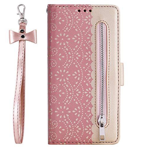 Jorisa - Funda tipo cartera compatible con iPhone 12 Pro Max de 6.7 pulgadas, diseño de flores de encaje funda de piel con cierre magnético, solapa con tarjetero y correa, color oro rosa