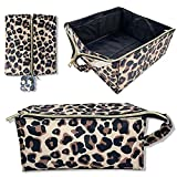 Foldable Travel Makeup Bag Large Cosmetic Bag Make up Case Organizer for Women and Girls, 3 Storage Bags for brushes and Lipsticks inside, Waterproof, Thickened and Soft, Large Pencil Case (CUTE LEOPARD)