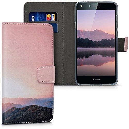 kwmobile Wallet Hülle kompatibel mit Huawei Y6 II Compact (2016) - Hülle mit Ständer Kartenfächer Berg Morgenröte Altrosa Schwarz