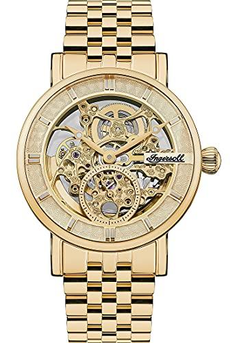 Ingersoll 1892 Mens The Herald reloj automático con una esfera de oro pálido y una pulsera de acero inoxidable oro I00408