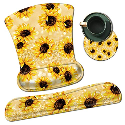 Keyboard Wrist Rest and Mouse Wrist Rest Pad Set,Rossy Smooth Surface Non-Slip Rubber Base Mat Ergonomic Gaming Mousepad for Easy Typing & Pain Relief, Glitter Sunflowers + Coaster