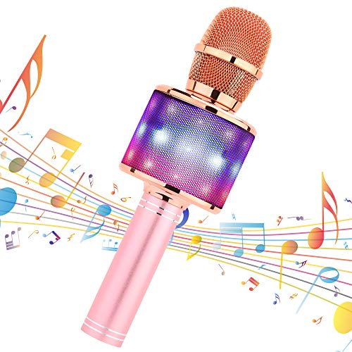 Amazmic Kids Karaoke Machine Microphone Toy Portable Bluetooth Microphone Machine Handheld with LED Lights, Gift for Children's Birthday Party, Home KTV(Rose Gold Plus)