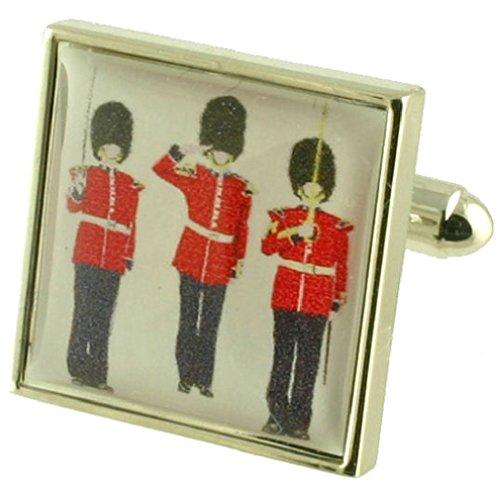 Armée Royale des soldats à lourd solide Argent sterling 925 Boutons de manchette + cadeau personnalisé Message Boîte à boutons de manchette