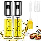 WELLXUNK Pulverizador de Aceite, Dispensador de Aceite de Oliva, Spray Aceite Cocina 100ML - Con Cepillo de Barbacoa, Cepillo de Limpieza y Embudo, para Cocinar/Ensalada/Hornear Pan/BBQ (Doble)