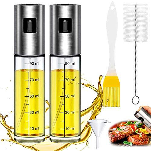 WELLXUNK® Pulverizador de Aceite, Dispensador de Aceite de Oliva, Spray Aceite Cocina 100ML - con Cepillo de Barbacoa, Cepillo de Limpieza y Embudo, para Cocinar/Ensalada/Hornear Pan/BBQ (Doble)