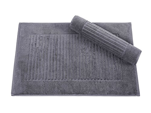 Classic Turkish Towels 2 Piece Bath Mat Set 20 x 33 inch - Soft and Absorbent Ribbed Bath Mats Made with 100% Turkish Cotton,Gray