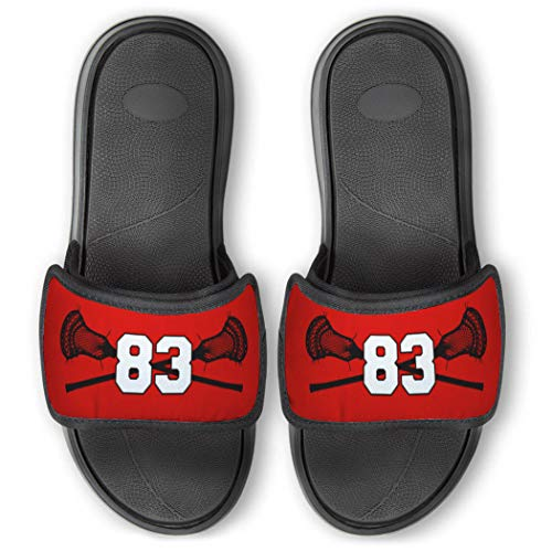 Repwell Lacrosse Slide Sandals | Your Number | Red | Y5.5