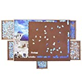ATDAWN Wooden Puzzle Table, Jigsaw Puzzle Table, Puzzle Plateau-Smooth Fiberboard Work Surface, with Five Sliding Drawers, Puzzle Accessories for 1000 Pcs